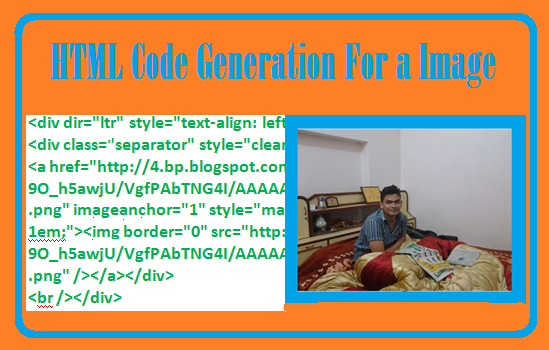 How to Generate HTML code for an image or a picture using Blogger Post editor.