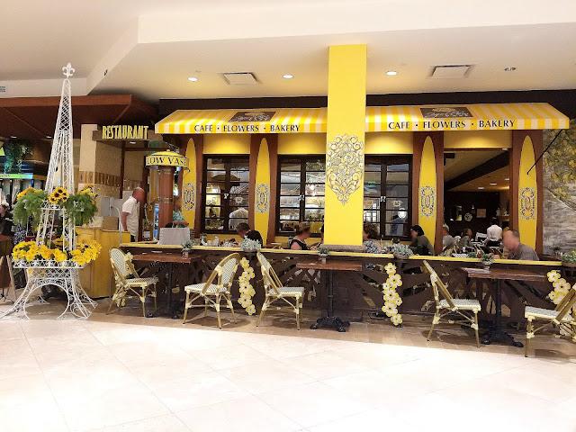 Yellow Vase Cafe South Coast Plaza Orange County California flowers sunflowers French restaurant