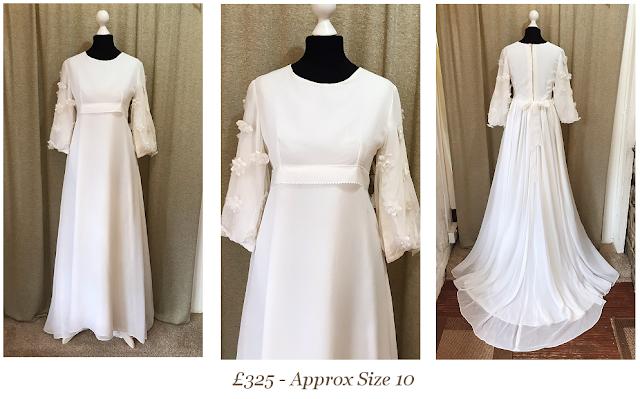 floral balloon  sleeve priscilla presley 1960's retro vintage wedding dress from vintage lane bridal boutique bolton