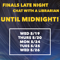 Image with a starry night and announcing extended chat hours for finals
