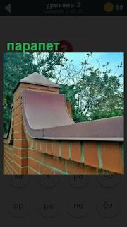 сделан железный парапет сверху на заборе