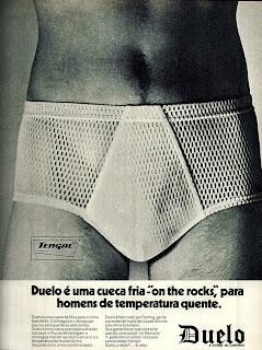 propaganda cueca Duelo - 1972. moda masculina anos 70. .1972; moda anos 70; propaganda anos 70; história da década de 70; reclames anos 70; brazil in the 70s; Oswaldo Hernandez