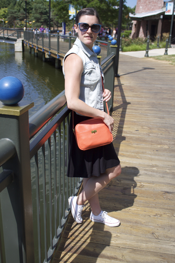 Shop Tobi, Tobi, swing dress, black dress, denim vest, Target denim vest, orange crossbody bag, J.Crew crossbody bag, Converse Chuck Taylor shoes, white converse, Naturally Me
