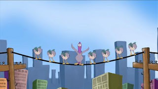 Smidgen the Pigeon appears and counts 9 birds on a wire in song. Sesame Street Episode 4320 Fairy Tale Science Fair season 43