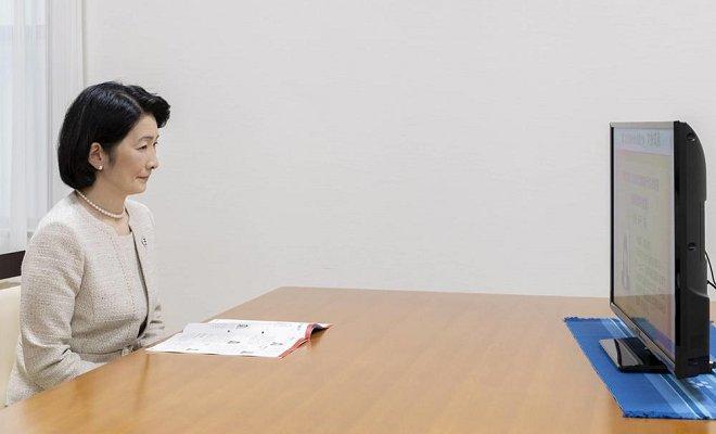 Crown Princess Kiko is president of Japanese Anti-Tuberculosis Association. Princess Mako and Princess Kako. Akasaka Palace in Tokyo