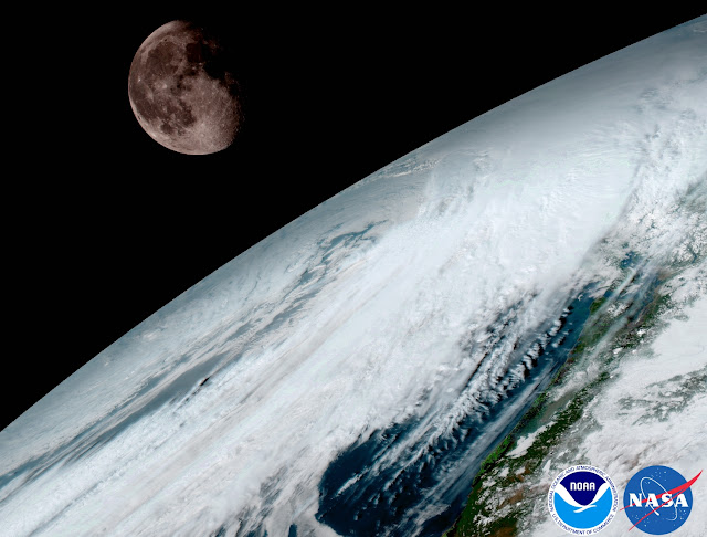 GOES-16 Earth and moon. Credit: NOAA/NASA