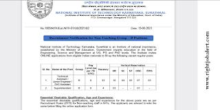 NITK Mangalore Non teaching Vacancies