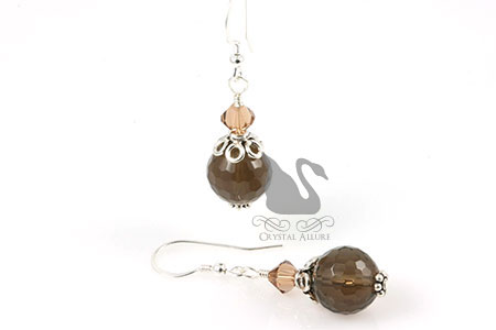 Smoky Quartz Gemstone Crystal Beaded Earrings (E244)