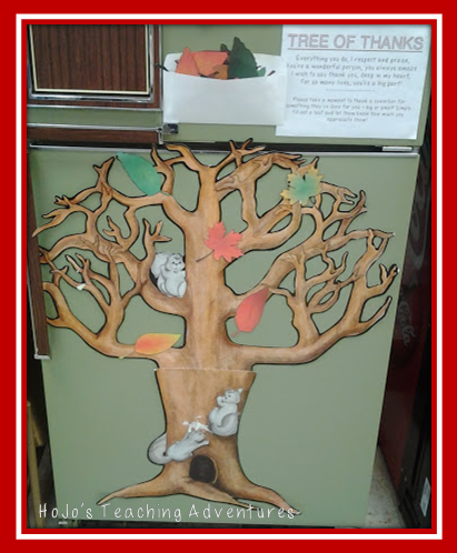 "Need to boost staff morale? Or perhaps your classroom could use a lift this November? Either way, you're going to LOVE this idea! Create a tree, cut out the FREE leaves provided, and give others ""thanks"" for all they've done for you or your students! It's a great Thanksgiving tradition to start in your classroom or school this year!"
