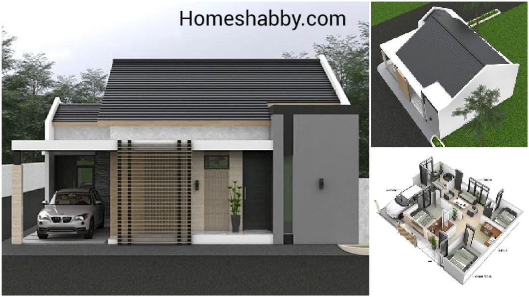 Desain dan Denah Rumah Ukuran 10.5 x 8.5 M Terdapat 3 ...