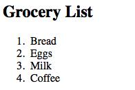 penggunaan ordered list pada laman html