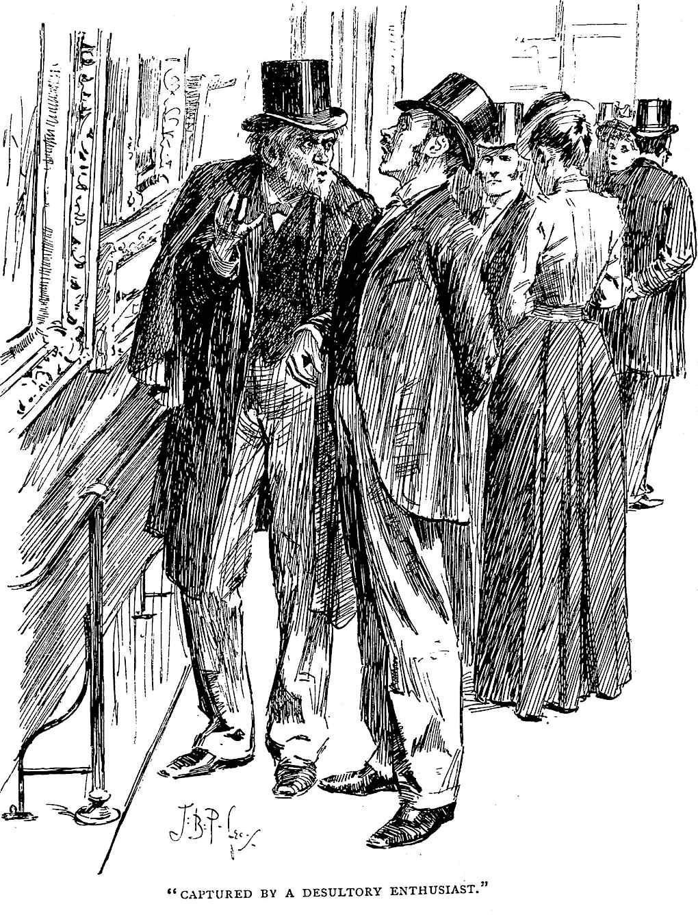 a J. Bernard Partridge cartoon at an art gallery, Captured by a desultory enthusiast