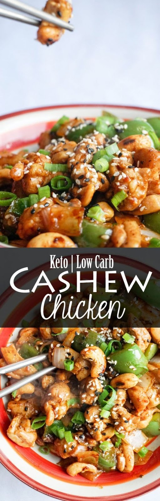 Easy Cashew Chicken ready in under 15 minutes. Keto + Low Carb!