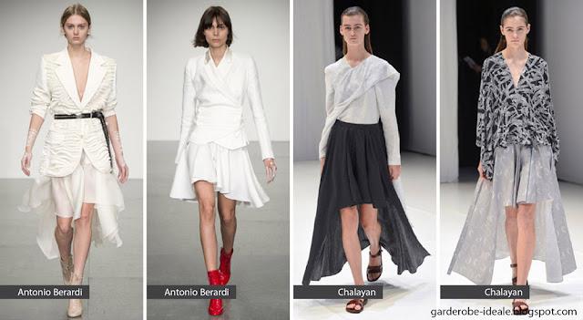 Асимметричные широкие юбки на подиуме показ весна лето 2018
