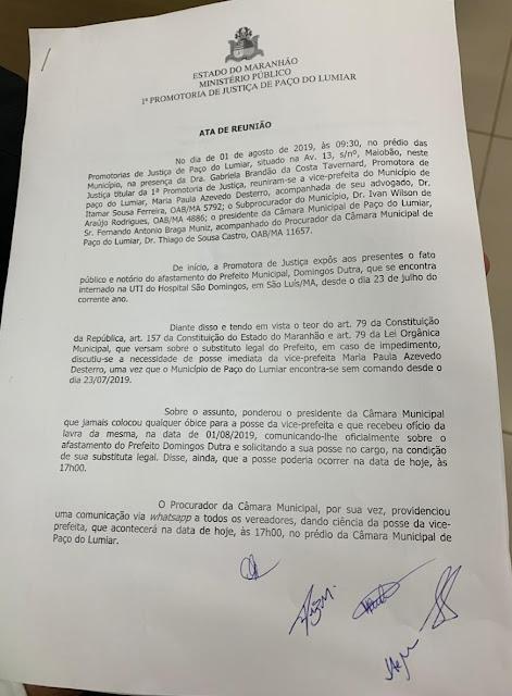 Enquanto vice-prefeita tomava posse em Paço do Lumiar documentos da prefeitura eram retirados para apagar irregularidades