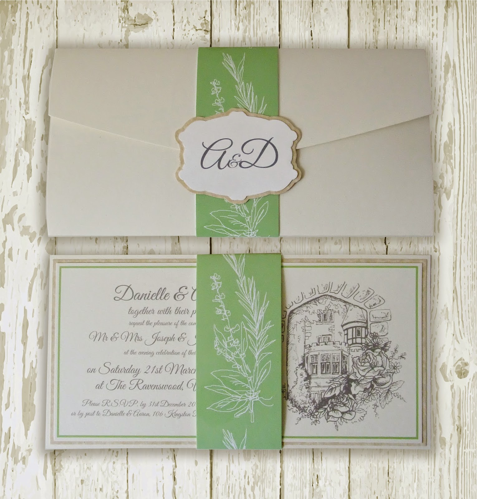 Knots And Kisses Wedding Stationery Bespoke Apple Green Herb