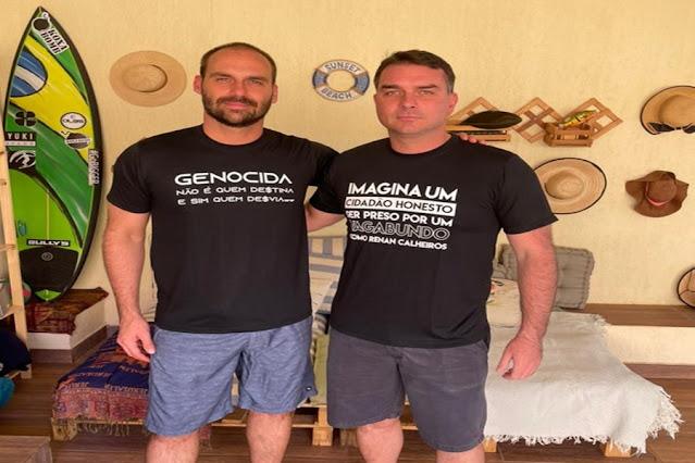 """Eduardo Bolsonaro, irmão do senador, também usa peça com frase sobre """"genocida""""."""