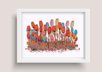 Digital Art | Tulip Garden  Poster by Miabo Enyadike