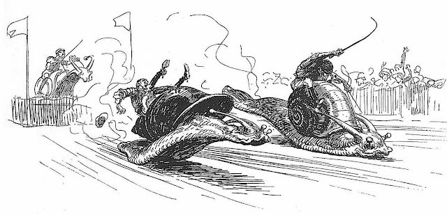 a Heinrich Kley drawing of racing snails