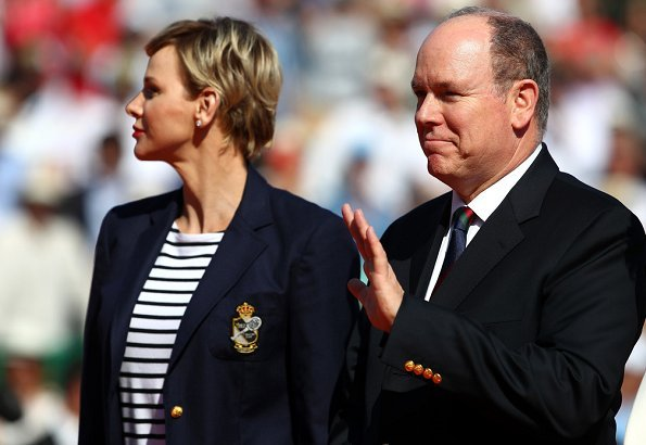 Prince Albert II, Princess Charlene and Pierre Casiraghi at the Monte-Carlo Sporting Club for Spain's Rafael Nadal tennis match. JIMMY CHOO pumps