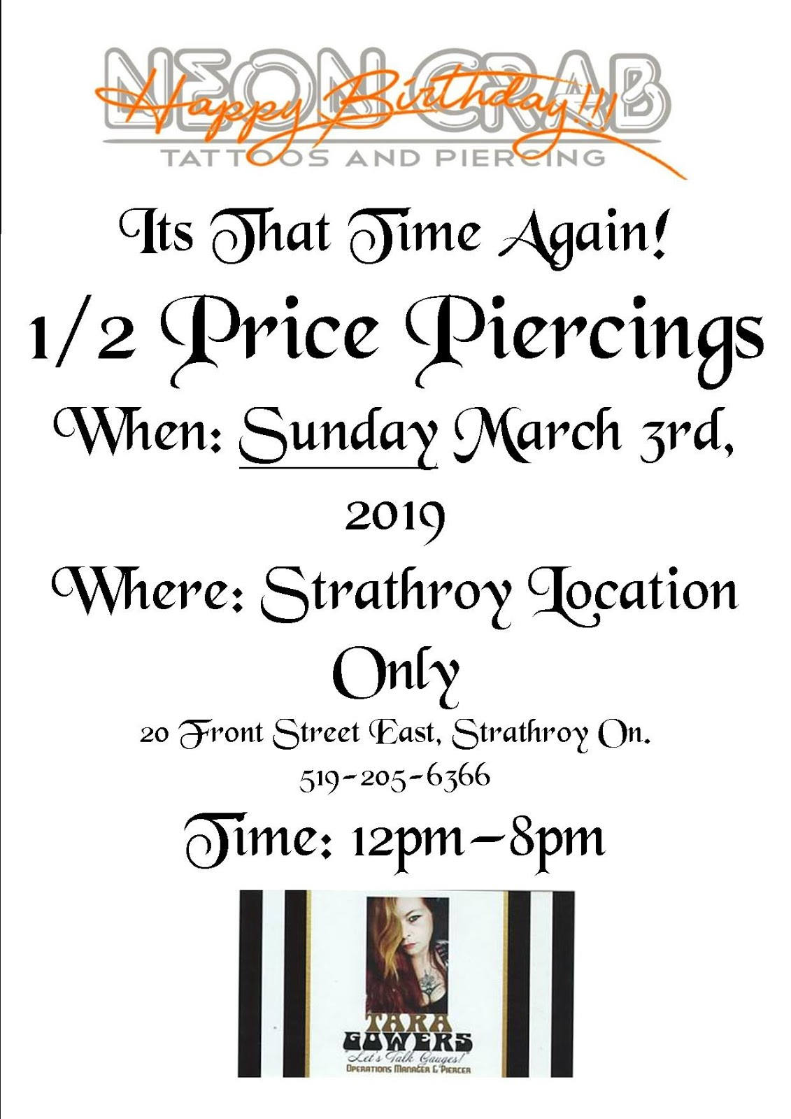 4908592e8eaea Hard to believe, but the 6th anniversary of the Strathroy Neon Crab Tattoos  & Piercing is just around the corner.