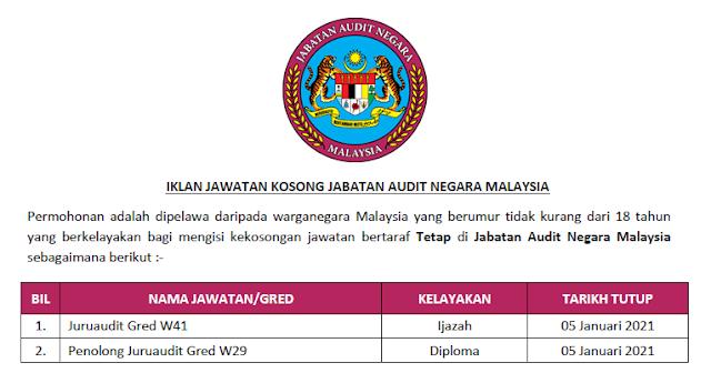jabatan audit negara jawatan kosong
