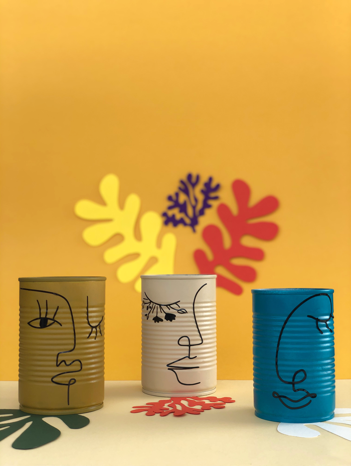 eco friendly, DIY, valetos diy, tin cans, reuse, matisse, one line face draw, planters, maestros