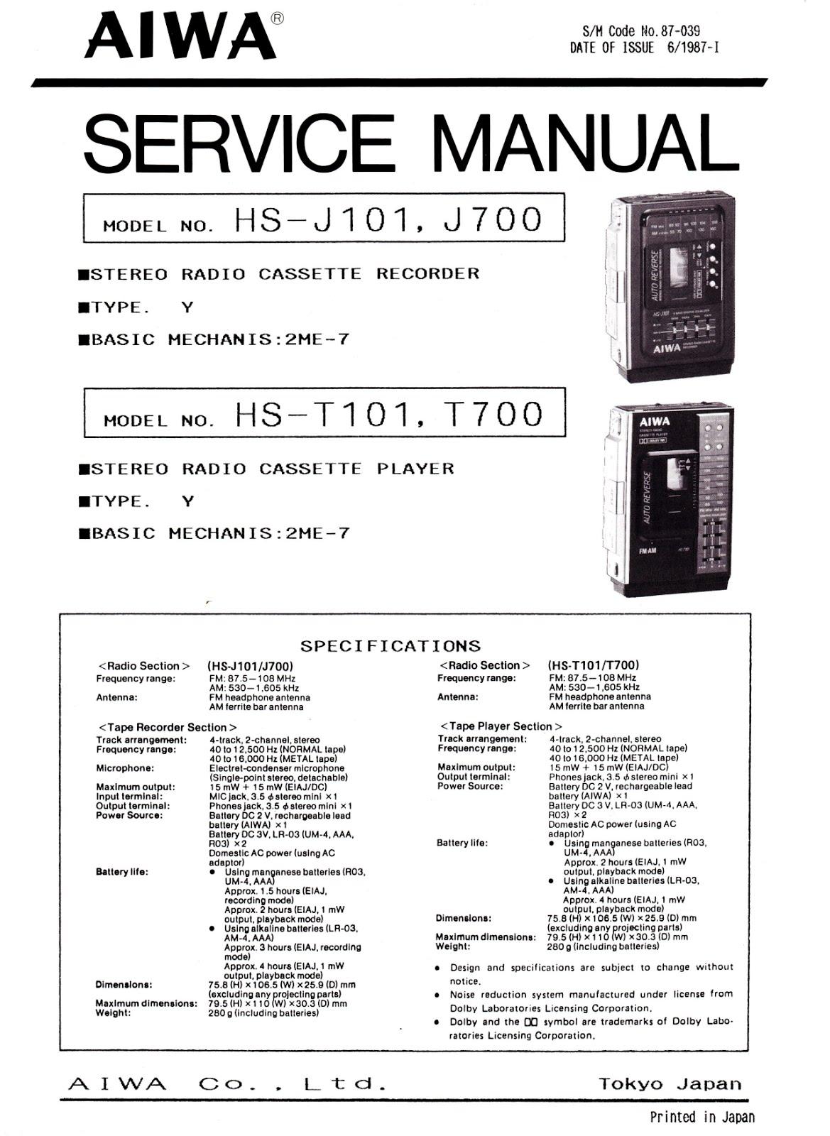 The Personal Hi Fi Blog Aiwa Hs J10 J101 J700 Wiring Diagram Kl