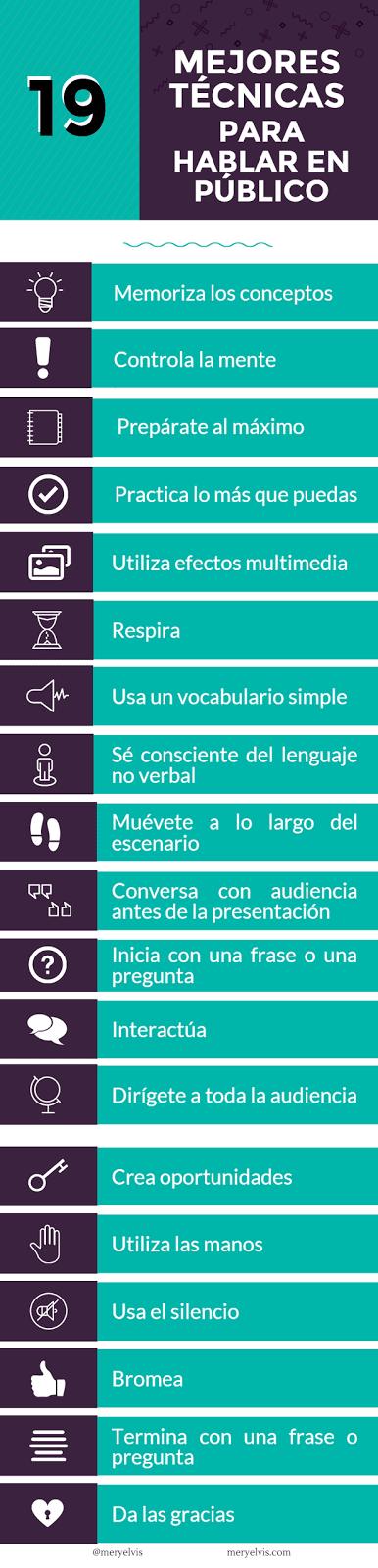 19 técnicas para hablar bien en público [Infografía]