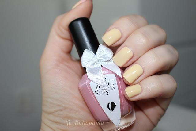 Eclair 05a Chameleon lakier termiczny różowy paznokcie hola paola instagram kokardka uroczy żółte paznokcie żółty kolor bananowe naturalne bolg opinia jaki wybrać lakier zmieniający kolor