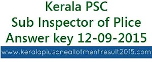 Kerala PSC Sub Inspector of Police (Trainee) 12-09-2015