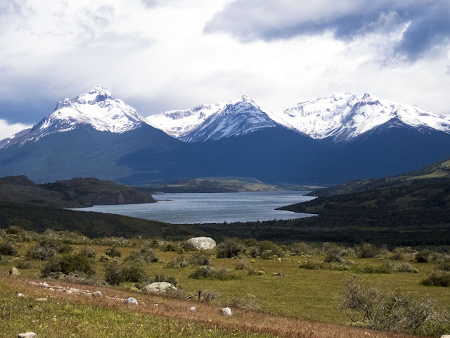 Lago Sofia near Puerto Natales Chile with snow-capped mountains behind