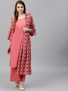 AKS Women Pink & Green Printed Kurta with Palazzos & Dupatta