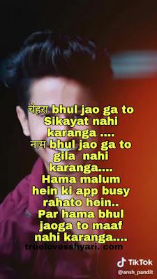 चेहरा bhul jao ga to Sikayat nahi karanga .... नाम bhul jao ga to gila  nahi karanga.... Hama malum hein ki app busy rahato hein.. Par hama bhul jaoga to maaf nahi karanga....