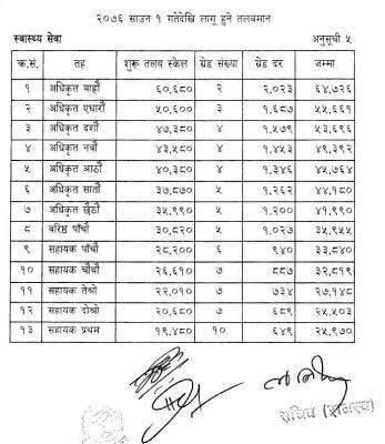 Swasthya Sewa New Salary Scale of Nepal Government 2076 (2019)