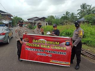 Dalam rangka percepatan Penanganan Covid-19 TNI - POLRI Polres Lingga Gelar Dapur umum yang kesekian kalinya