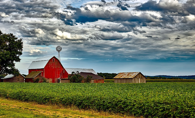 Agriculture, Barn, Buildings, Clouds,HD,Wallpaper