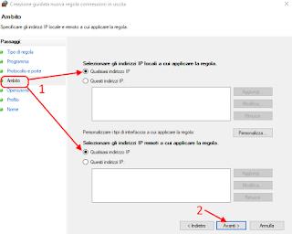Regola personalizzata firewall - Cortana 4