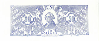 $50 Confederate bill back, printed in blue ink