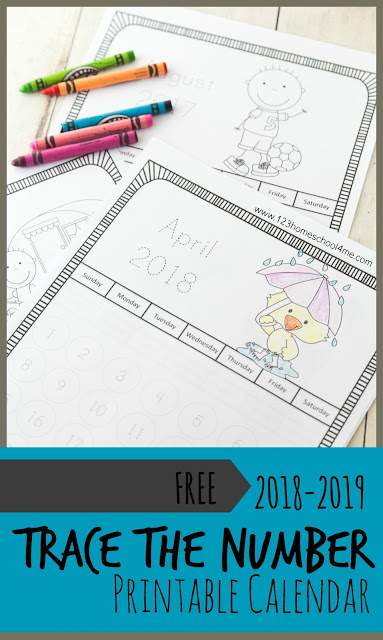 FREE 2018-2019 Trace the Number Printable Calendar in black and white perfect for preschool, prek, kindergarten, first grade, 2nd grade and more to track the school year, learn days, weeks, months, and years.