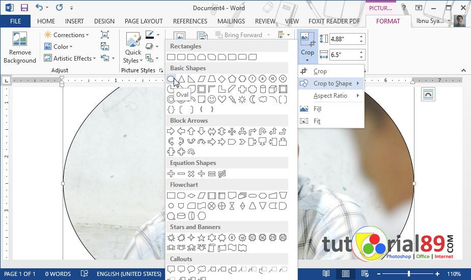 Cara Mudah Crop Lingkaran Pada Gambar Di Microsoft Word Video Tutorial89