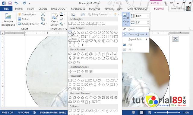 Cara mudah crop lingaran pada gambar di Microsoft word