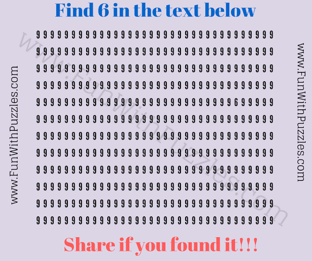 This is an eye twister picture puzzle in which your challenge is find the hidden number 6.