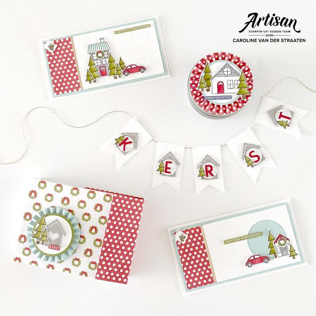 Kerstkaarten, Mini Album en kerstslinger gemaakt met Trimming the Town lijn van Stampin' Up!