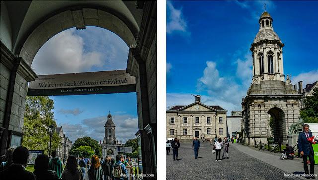 Arcada de acesso à Trinity College, em Dublin, e o campanário da Universidade