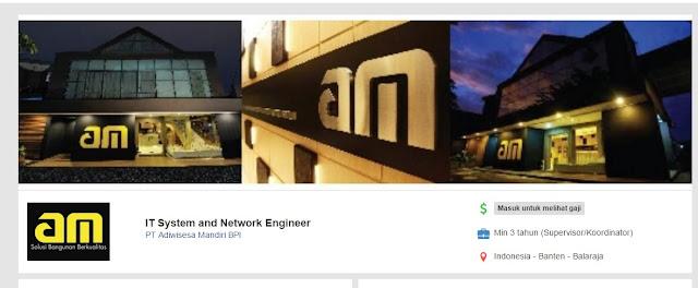 Lowongan Kerja IT System and Network Engineer  di Butuhkan Cepat di PT Adiwisesa Mandiri BPI