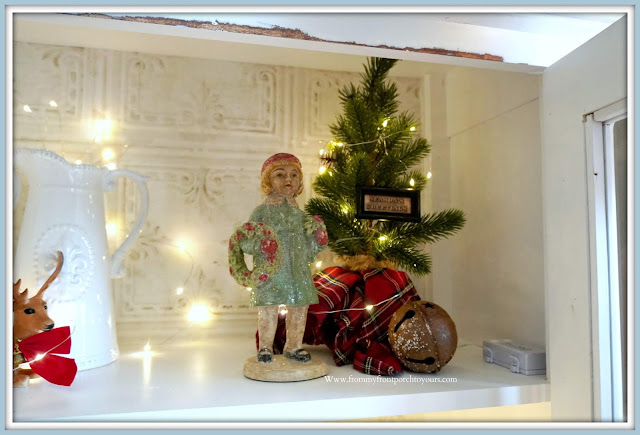 French -Farmhouse -Cottage -White -Dining- Room -Cabinet-Christmas -Vignettes-Vintage-Style-From My Front Porch To Yours