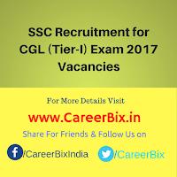 SSC Recruitment for CGL (Tier-I) Exam 2017 Vacancies