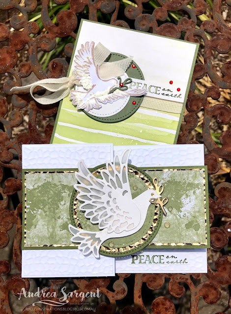 Mossy Meadow Dove of Hope and Wrapped in Christmas Stampin Up card with Brightly Gleaming DSP, Andrea Sargent, Independent Stampin' Up! Demonstrator, Valley Inspirations, Adelaide foothills, South Australia