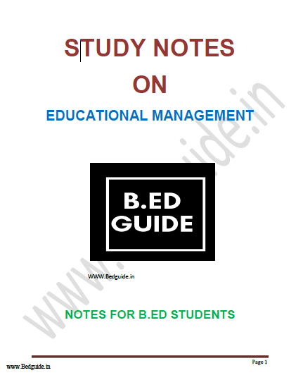 B.ed Notes on Educational Management PDF Download